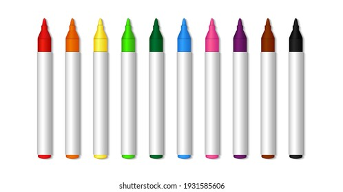 Color marker. Felt tip of marker. Pencil for highlight. Permanent palette of pens. Set of felt tips with green, red, yellow, blue and black colors. Crayons isolated on white background. Vector.