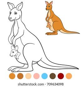 Color me: kangaroo. Mother kangaroo with her little cute baby.