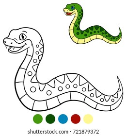 Color me: viper. Little cute viper stands and smiles.