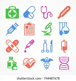 Color medical icons on white background, medicine symbols. Vector illustration.
