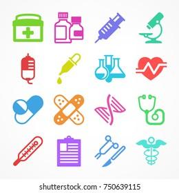 Color medical icons on white background, medicine symbols, medical vector illustration