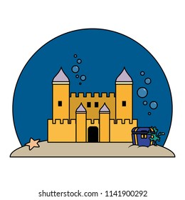 color medieval castle with coffer under water
