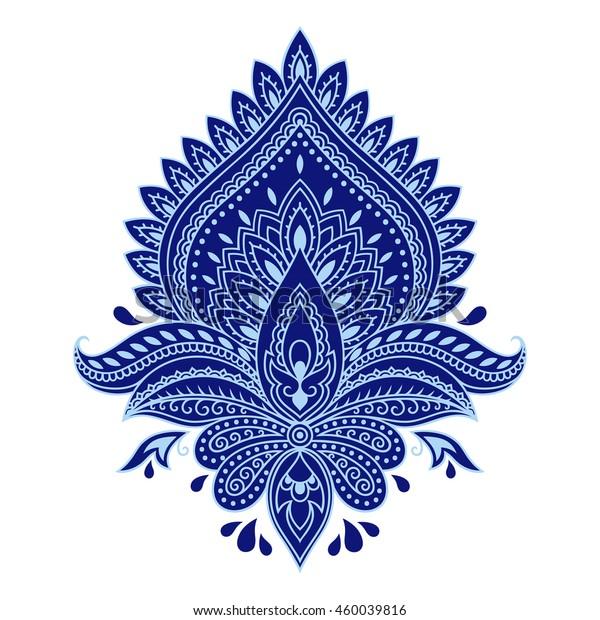Color Mehndi Lotus Flower Pattern Henna Stock Vector Royalty Free