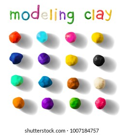 Color modeling clay balls set isolated on a white background. 3d Vector illustration. Creative putty-like material for children's play