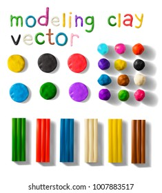 Color modeling clay bricks and balls set isolated on a white background. 3d Vector illustration. Creative putty-like material for children's play