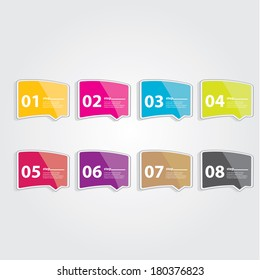 Color Modern Design glossy banners template / can be used for infographics / numbered banners / horizontal cutout lines / graphic or website layout vector