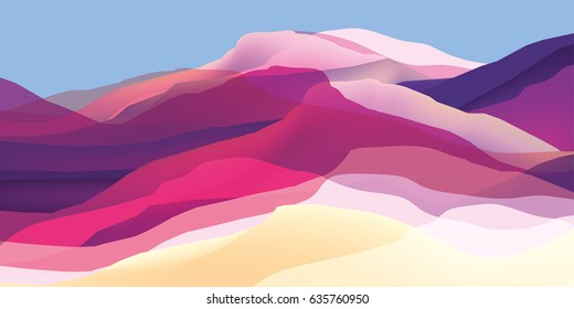Color mountains, waves, abstract surface, modern background, vector design Illustration for your project