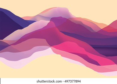 Color mountians, waves, abstract surface, modern background, vector design Illustration for you project
