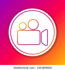 Color Movie or Video camera line icon isolated on color background. Cinema camera icon. Circle white button. Vector Illustration