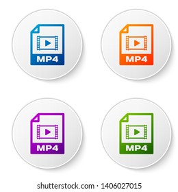 Color MP4 file document icon. Download mp4 button icon isolated on white background. MP4 file symbol. Set icons in circle buttons. Vector Illustration