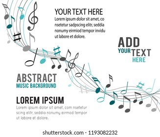 Color music notes on a solide white background
