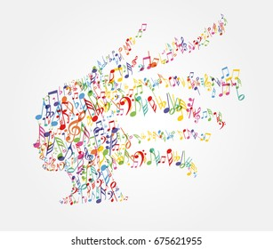 Color music notes splash from woman's head. Fun illustration.