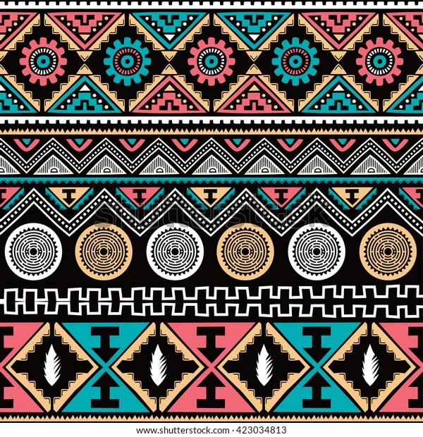 Color Native American Ethnic Seamless Pattern Stock Vector ...