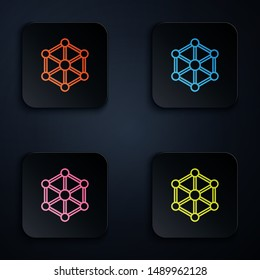Color neon line Blockchain technology icon isolated. Cryptocurrency data. Abstract geometric block chain network technology business. Set icons in colorful square buttons. Vector Illustration
