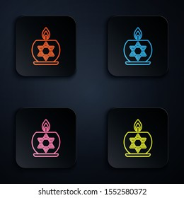 Color neon line Burning candle in candlestick with star of david icon on black background. Cylindrical candle stick with burning flame. Set icons in colorful square buttons. Vector Illustration