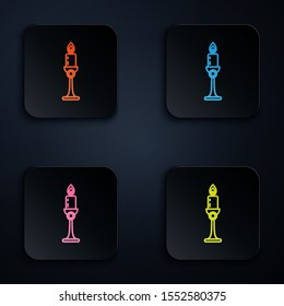 Color neon line Burning candle in candlestick icon on black background. Old fashioned lit candle. Cylindrical candle stick with burning flame. Set icons in colorful square buttons. Vector Illustration