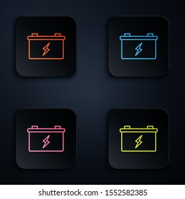 Color neon line Car battery icon isolated on black background. Accumulator battery energy power and electricity accumulator battery. Set icons in colorful square buttons. Vector Illustration