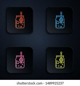 Color neon line Jar of honey and honey dipper stick icon isolated on white background. Food bank. Sweet natural food symbol. Honey ladle. Set icons in colorful square buttons. Vector Illustration