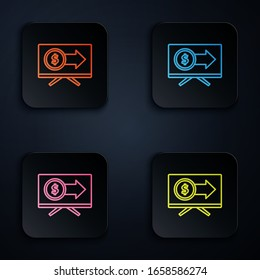 Color neon line Monitor with dollar symbol icon isolated on black background. Online shopping concept. Earnings in the Internet, marketing. Set icons in square buttons. Vector Illustration