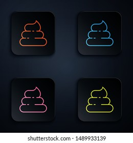 Color neon line Shit icon isolated on white background. Set icons in colorful square buttons. Vector Illustration