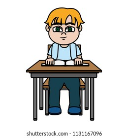 color nice boy sitting school book and book