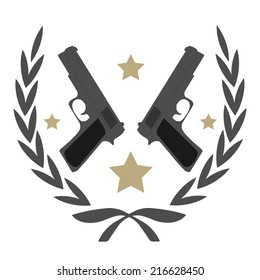 Color, no outline,  logo isolated on white with 2 pistols and stars in laurel wreath frame