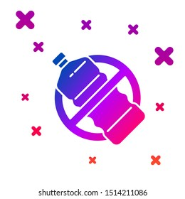 Color No plastic bottle icon isolated on white background. Gradient random dynamic shapes. Vector Illustration