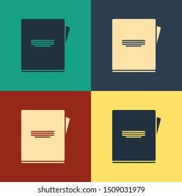 Color Notebook icon isolated on color background. Spiral notepad icon. School notebook. Writing pad. Diary for school. Vintage style drawing. Vector Illustration
