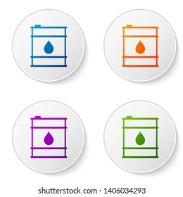 Color Oil barrel line icon isolated on white background. Oil drum container. For infographics, fuel, industry, power, ecology. Set icons in circle buttons. Vector Illustration