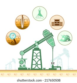 color oil derrick and circle icons with stages of process oil production