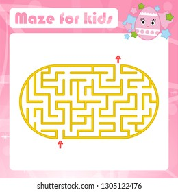 Color oval labyrinth. Kids worksheets. Activity page. Game puzzle for children. Cute cartoon egg. Holiday Easter. Maze conundrum. Vector illustration. With place for your image