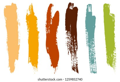 Color paint brush strokes. Dirty artistic design elements.