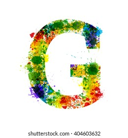 Color Paint Splashes. Gradient Vector Font. Watercolor Designer Decoration Alphabet. Colar ink Symbols Isolated ob a White Background. Letter G