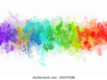 Color paint splashes watercolor vector background