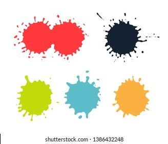 Color paint splashes.Grunge splatters set.