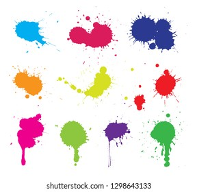 Color paint splashes.Paint stains collection.
