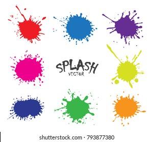 Color Paint Splatters.Vector Splashes Set.