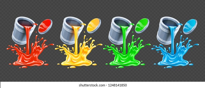 Color paints pouring from tins with lids. Realistic splash, splashes and drops on transparent background, gradient mesh used. EPS10 vector illustration.