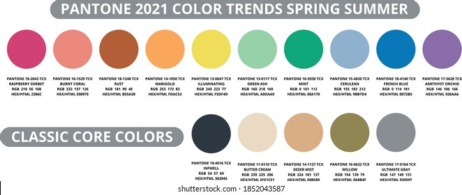color palette 2021 spring, summer in HEX and RGB values. Set of year trend color for fashion, home, interiors design, vector illustration. Pantone color swatch trend spring, summer 2021 year