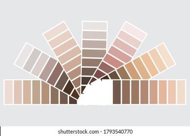 Color palette. Beige set of shades. A palette of pastel colors. Palettes of different skin tones. Vectoral image.
