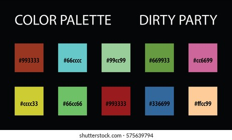 Color palette with code vector mix swatches paint brush scheme for interior or website dirty party colorful style