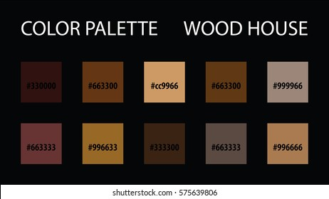 Color palette with code vector mix swatches paint brush scheme for interior website skin wood house brown style