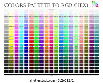 Color palette composition shade chart conform to pantone RGB and HEX description guide on white background of illustrator