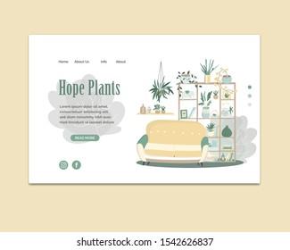 Color palette designing interior decorations. Interior design, house decoration service, interior design home plants, yellow sofa. Website vibrant landing web page template.