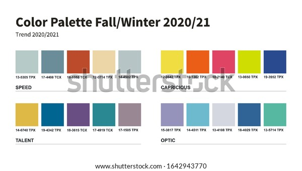 Color Palette Fashion Fall Winter 2020 Stock Vector Royalty Free 1642943770