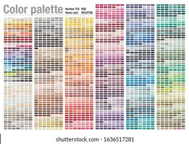 Color palette of the Fashion, Home and Interiors colors for test print on cotton. With number, named color swatches, chart conform to RGB, HTML and HEX description.