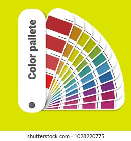 Color palette guide. Coloured swatches catalogue, book, pantone. Vector illustration in flat style