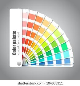 Color palette guide on grey background