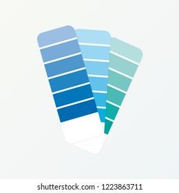 Color palette guide on grey background. Vector stock illustration.