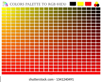 Color palette mixer 3 color (Black , Red and Yellow) RGB mode in composition shade chart conform to RGB and HEX description guide on white background of illustrator